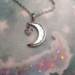 🌙92.5 Sterling Silver Engraved Moon Necklace🌙